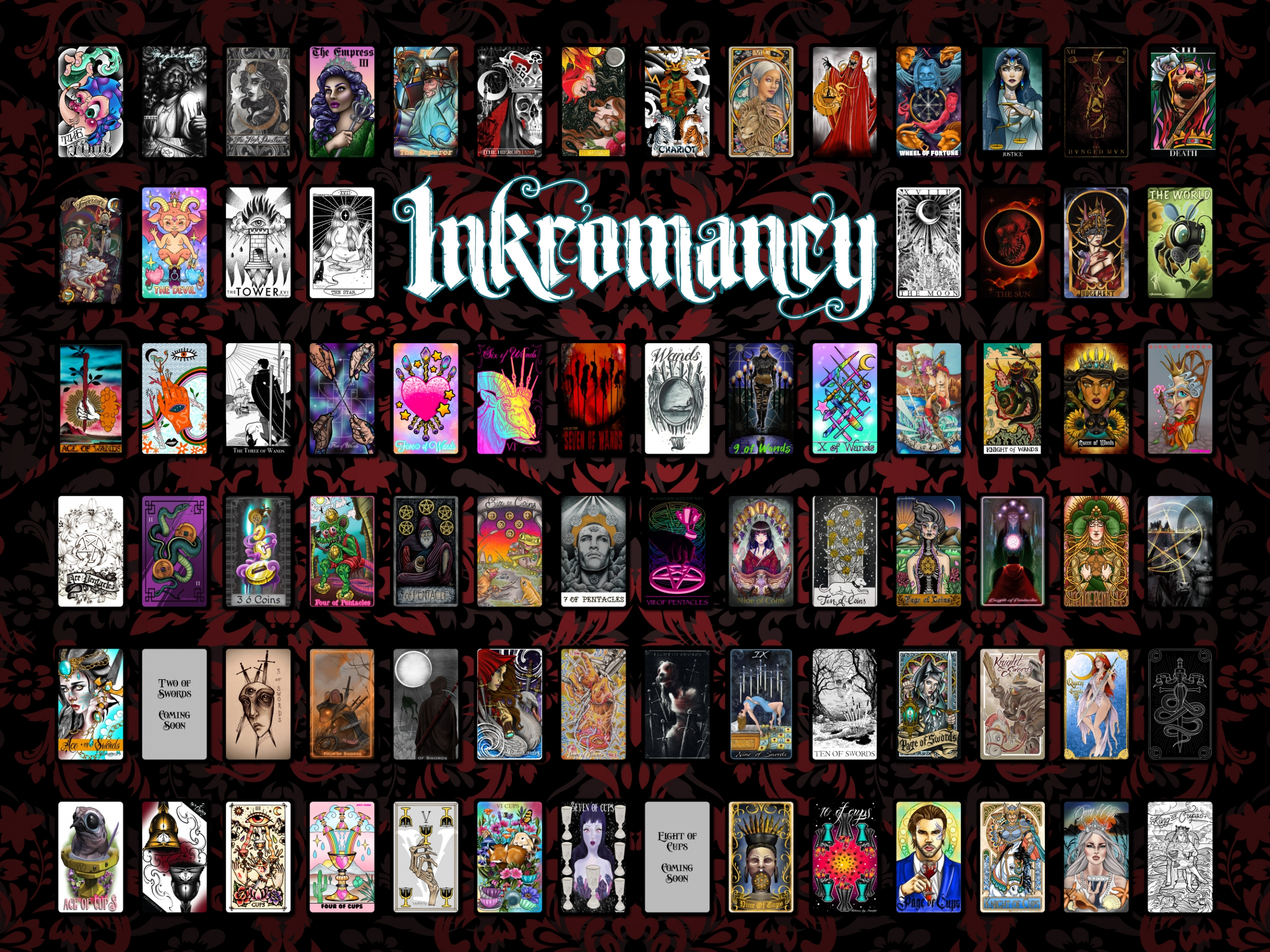 Inkromancy Tattoo Tarot Deck By Jordanne Le Fae Kickstarter The 6 of pentacles, in my decks, has meanings like generosity and selflessness, and i think that in terms of a relationship, this could represent one (or both) people selflessly giving each other love and caring. inkromancy tattoo tarot deck by